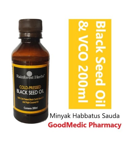 Rainforest Herbs Black Seed Oil With Virgin Coconut Oil 200ml - Halal by Jakim