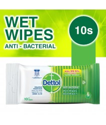 [READY STOCK] Dettol Antibacterial Wet Wipes Wet Tissue 10s Kills 99.9% of germs