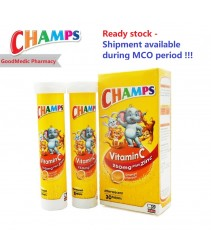 Ready Stock - Champs Vitamin C 250mg Plus Zinc Effervescent (15's / 30's) Delivery available during MCO