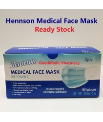 Hennson Medical Face Mask - 3 ply Above 95% BFE 50s Ready Stock