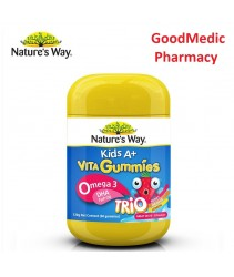 Nature's Way Kids A+ Vita Gummies Omega-3 DHA Fish Oil Trio 60 Gummies  [3 Flavours, Omega3, Omega 3, Natures, Gummy, Brain, EPA, Memory ]