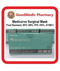 Medicurve Surgical Face Mask 50 pieces (Fluid Resistant BFE 99%, PFE >95% ) Surgical grade ATSM Level II