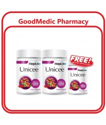 (Authorized Seller) Megalive Unicee Vegecaps 440mg 2x60s FOC 15s with Acerola Berries & Rosehip Extract