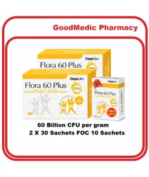 MegaLive Flora 60 Plus with 60 Billion Probiotcis and Yeast Beta Glucan (2x30s+10s)