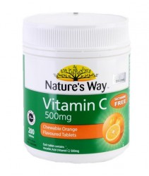Nature's Way Vitamin C 500Mg Tablets Bottle of 200 (Exp 04/2021)