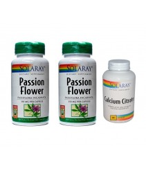 Solaray Passion Flower Twin Pack (2 x 100s) FOC Calcium Citrate Plus (30s)