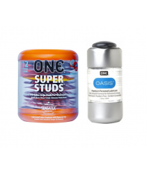 ONE Super Studs Condom (12s) + Premium Water Base Lubricant 100ml