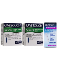 One Touch Select Test Strips 25s X 2 + FOC lancets 25s WORTH RM30